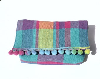 Pouch / purse / flap / fabric tile / Mexican / tassels.