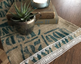 Farmhouse shabby chic table centerpiece from recycled coffee bag burlap and vintage lace