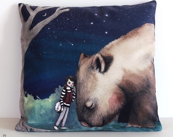 Giant Wombat and Banjo Boy cushion cover. Decorative pillow. Velvet. Illustration. Australian gift with original art by flossy-p