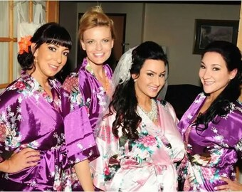 CD1 wedding gift ideas for bridesmaids  bathrobes with hoods bridesmaid gift short wedding dress chinese kimono embroidered dressing gowns