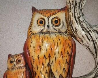 Vintage Plaster Owl Wall Plaque