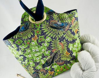 MEDIUM Raven Project Bag, Knitting Project Bag, Reversible, Pocket, Crochet Project Bag, Saxi Bags, Saxi Bag, Yarn Bag, Alaska Flower, Navy