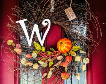 Fall wreath - Large fall wreath - Fall wreath with initial - Thanksgiving wreath - Autumn wreath - Rustic fall decor - FREE SHIPPING