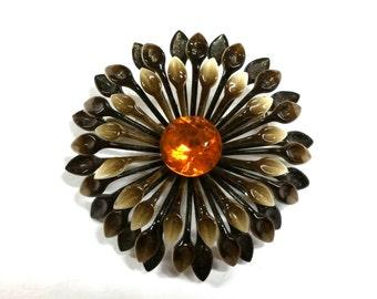 Vintage Enamel Flower Brown and Amber