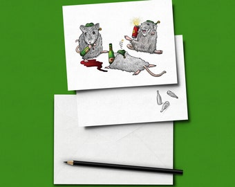 Drunk Elves Christmas Card