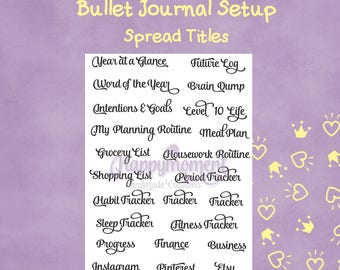 Bullet Journal Spread Titles | Printable PDF in Letter Size | Common layouts' titles for your bujo setup | Bujo stickers, Planner Stickers