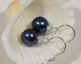 Sterling silver Earrings Black Pearl Earrings Gemstone Earrings Pearl Jewelry
