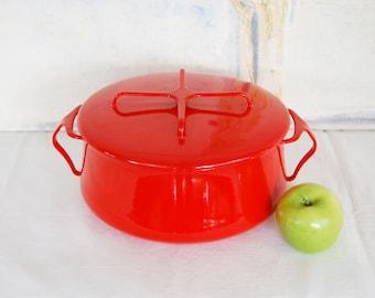 Vintage Dansk Kobenstyle Jens Quistgaard Extra Large Red Enamel Pot with Lid Made in France