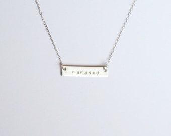Silver bar namaste necklace