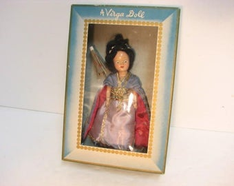 Virga Sing Song #438 Doll in Box, Beehler Arts Storybook Doll w/ Umbrella Parasol, Vintage Geisha