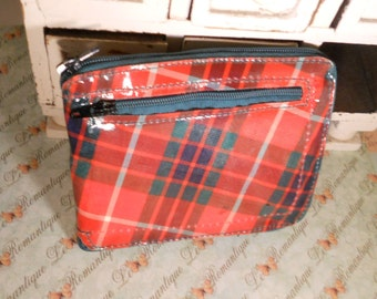 Vintage Wallet Change Purse Shopping Bag Preppy Plaid, price reduced for the holidays!
