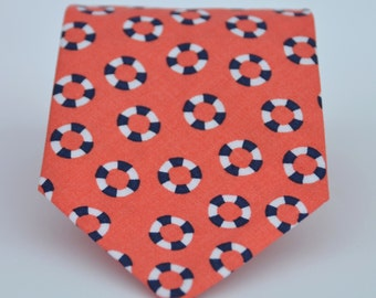 Coral and Navy Lifesavers Boy's Necktie Toddler or Baby Tie
