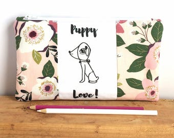 DOG PENCIL POUCH - Cute Zipper Pouch - Small Makeup Bag - Floral Pencil Pouch - Gift for Girl - Pretty Pencil Case - Gift for Teen Girl