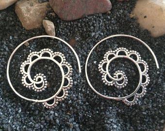Silver spiral earrings- Threader earrings silver-Tribal Antique Finish Jewelry -Kucchi Jewelry-Bohemian Ornate Earrings ZEP127
