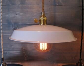 White Vinyl Record Pendant Light - Reused Plastic Industrial Ceiling Lamp