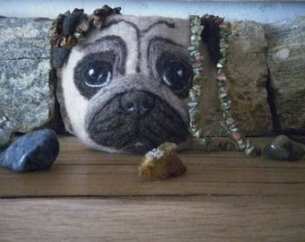 Wool bowl Jewelry box Animal lovers gift Pug mom gift Dog lovers gift Mom's gift Desk organizer Jewelry organizer Catch all Tray