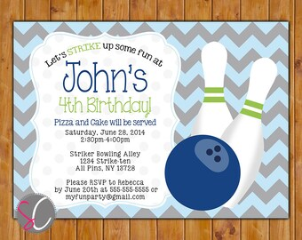Bowling Party Birthday Invitation, Boys Bowling Personalized Invite Navy Blue Lime Green (190b)