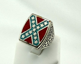 Vintage Sterling Silver Turquoise And Coral Inlay Ring Southwest Native American FREE SHIPPING!  #G&S-MS