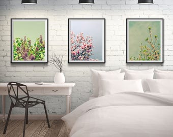 Cottage Wall Art - Farmhouse Decor - Art Print Collection - Bedroom Wall Art - Flower Photography - Mint Green - Flower Art - Blue Pink
