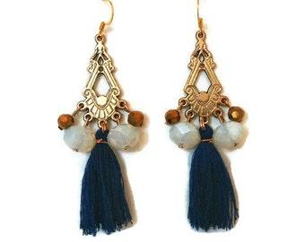 Boho Statement Earrings - Boho Tassel Earrings - Tassel Statement Earrings - Gold Boho Earrings - Gold Tassel Earrings - Gold Earrings
