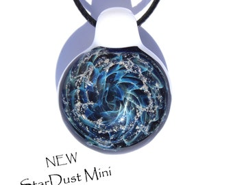 Cremation Jewelry Blown Glass Pendant StarDust Galaxy Necklace