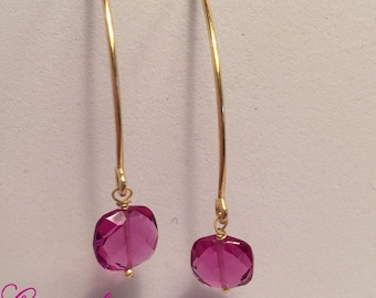 925 silver earrings with fuchsia quartz
