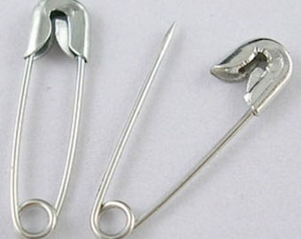 set of 30 safety metal safety pins silver 45 x 10 mm new