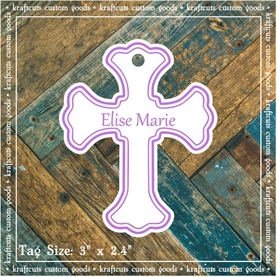 Baptism, Christening or First Communion Religious Cross Favor Tags - Baby Girl or Baby Boy Lavender Large #200L - Qty: 20 Tags