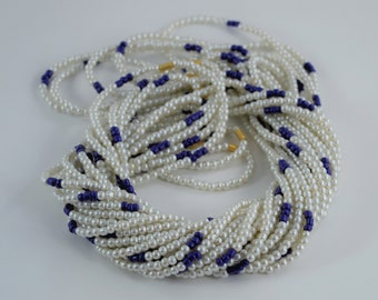 African Waist Beads, Waist Beads, African Waist Beads,blue beads and pearls