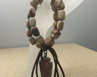 Double Jasper bracelet with arrowhead and tassel
