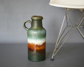 WEST GERMAN POTTERY Floor Vase, Scheurich 407 35, Vintage Retro Ceramic Floor Vase, Red Fat Lava Vase, West German Floor Vase, Made Germany