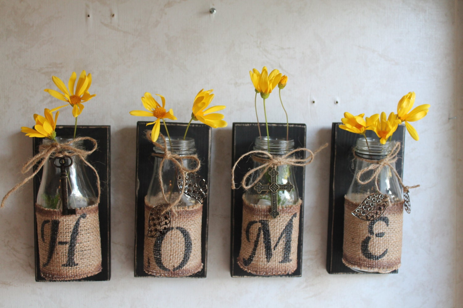 Wall Decoration Items Home Wall Decorset Of 4.upcycled Bottleshome