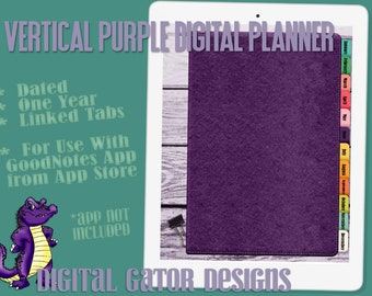 Vertical Purple Digital Planner-Bullet Journal