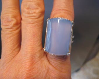 Premium Nambian Blue Chalcedony * Designer Cut * Ring  ....      Sterling Silver and 14 kt Gold      Size 7  1/2 ....    A30