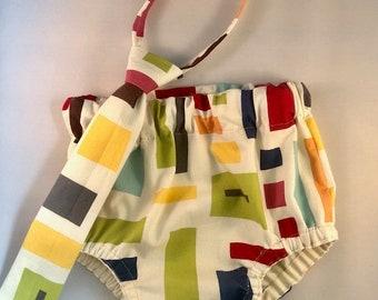 Necktie, Diaper Cover Set Fun Color Block Photography Prop, Dressy Baby Boy