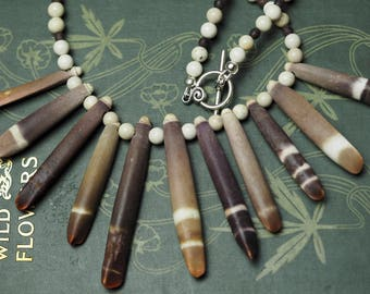 Vintage Sea Urchin Quill & Riverstone Necklace - Sea Priestess - Pagan, Wicca, Witchcraft, Ocean Magic