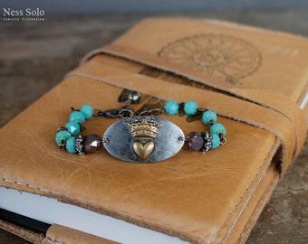 Bohemian bracelet Boho chic bracelet Beaded boho bracelet Heart bracelet Turquoise bead bracelet Bohemian jewelry Stackable bracelets Crown