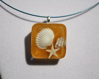 Beach Jewelry, Seashell Jewelry- Real Seashells and Sand Embedded Resin Pendant, Beachy Pendant, Real Seashell Necklace