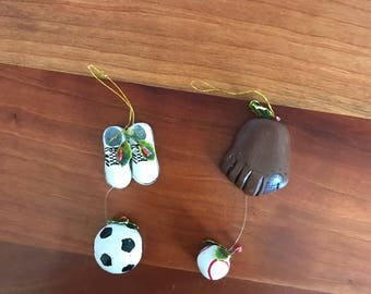 Set of Two Vintage Sport Ornaments