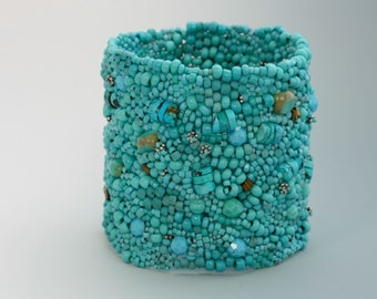 Freeform Peyote Stitch Bracelet. Turquoise NEVER Goes Out Of Fashion.