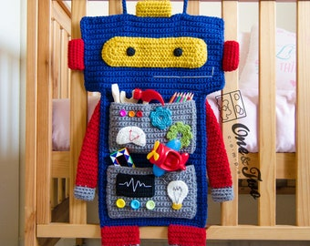 Robot Organizer - PDF Crochet Pattern - Instant Download - Robot Tech Mechanical Useful Organizer