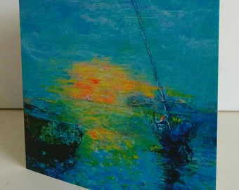 Greeting card from original painting Sunset at Anchor by Bee Skelton for any occasion birthday gift anniversary thank you