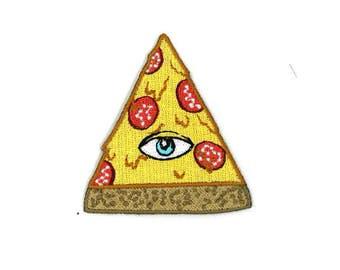 "2.5"" Illuminati Pizza Iron-On Patch Kawaii Cute Scene Kid Emo Indie Hipster Pastel Goth Rainbow Gothic Punk Rock Rave Raver Jpop Kpop Eye"