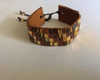 Miyuki Tila Beads Bracelet with leather