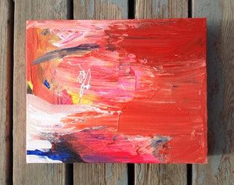 Abstract art, 8x10 canvas art, Original painting, Abstract expressionism, Modern artwork, Canvas wall art, Red wall decor, Retro artwork