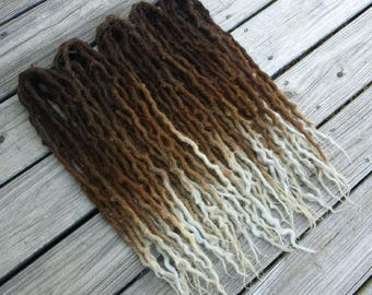 "Brown Blonde Ombre Wool Dreads Dreadlocks Extensions DE ""Valar Morghulis"" Choose Length and Amount"