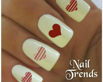 Heart Nail Decal 20  Valentine Vinyl Adhesive Decals Nail Tattoos  Nail Art