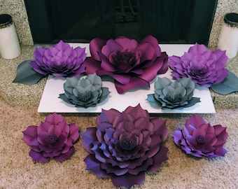 Customizable set of 8 paper flowers in your color choice