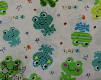 """Happy Frogs on white Ribbit stars bees 100% cotton fabric 42"""" - 44"""" wide"""