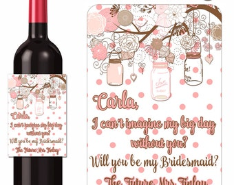 Custom Wine Labels Will You Be My Bridesmaid Maid of Honor Personalized Stickers Mason Jars on Branches - Waterproof Vinyl 3.5 x 5 inch